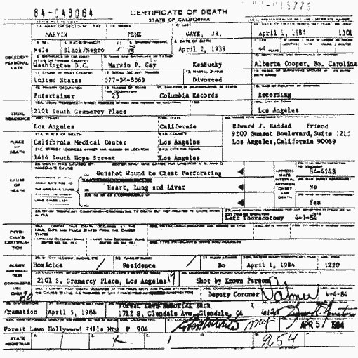 Marvin's Death Certificate